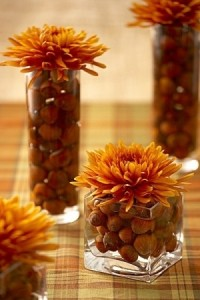 acorn vases with chrisanthemums