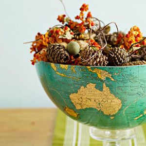 world bowl with pinecones